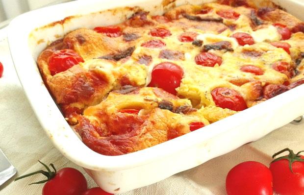 clafoutis aux tomates cerises et fromage de ch vre l ger plat et recette. Black Bedroom Furniture Sets. Home Design Ideas