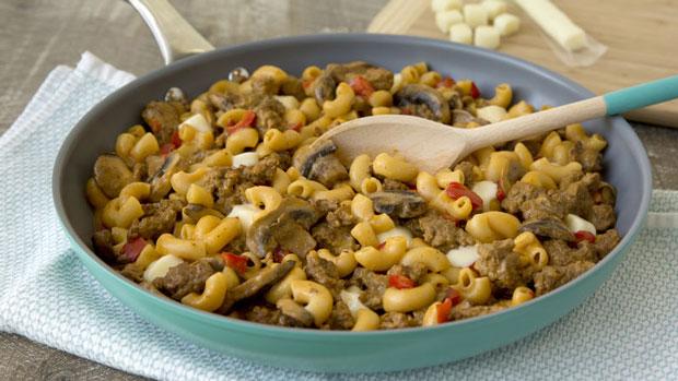 macaronis la viande hach e et champignons recette l g re. Black Bedroom Furniture Sets. Home Design Ideas