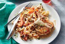 Côtelettes de porc aux champignons et aux carottes