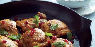 Cuisses de poulet au curry et sauce à la menthe