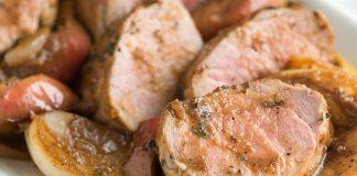 Rôti de porc aux pommes et aux cidres
