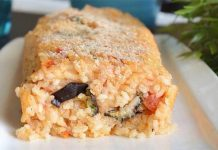 Rouleau de riz à l'aubergine